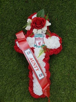 Artificial Silk Flower Liverpool FC Football Funeral Cross Wreath Red White