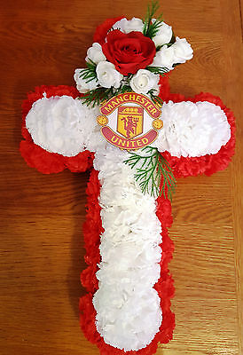 Artificial Silk Flower Manchester United Funeral Cross Wreath Red White Tribute