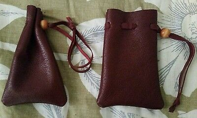 Small burgundy red leather bag pouch drawstring renaissance medieval dice coin