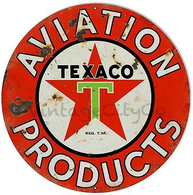 """Antique Style """"Texaco - Aviation Products"""" Gasoline Metal Sign - Rusted"""