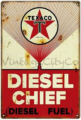 """Antique Style """" Texaco Diesel Chief """" Metal Sign - Rusted"""