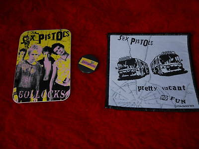 Nos UK Sex Pistol Bollocks Sticker Pretty Vacant Patch Pin Badge Punk Rock Lot