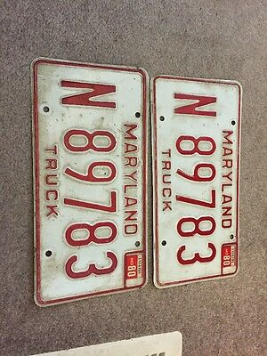 set of 2 maryland license plates 1980 stickers truck
