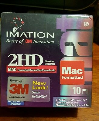 Imation 2HD Mac Formatted Box of 10 Floppy Disks / Diskettes - FAST POST