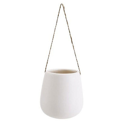Decorative Mini Hanging Vase Pot for Plant White Porcelain Decor Danish Desig...