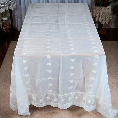 "Elegant White Sheer/ Floral Table Cloth # 18 - Approx.105 "" X 67"""