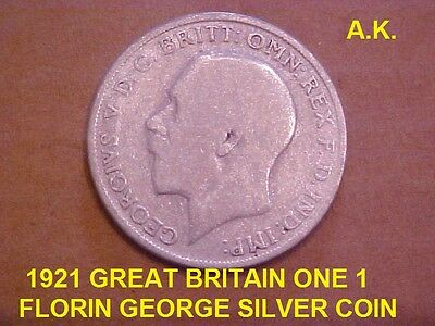 1921 Great Britain One 1 Florin George Silver Coin