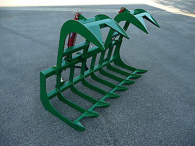 """John Deere Tractor Attachment 72"""" Dual Cylinder Root Grapple Bucket - Ship $199"""