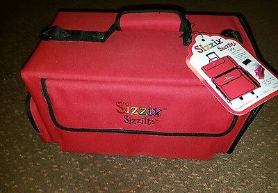 Sizzix Red Storage Carrying Tote Bag W/ Shoulder Strap Holds 4 Sizzlits Cases