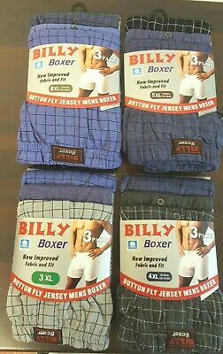 6 Pairs Men's Boxer Shorts Extra Big Sizes Billy Boxer Button Fly Polycotton
