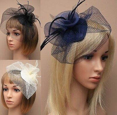 Wedding/Ascot/Races Ribbon Flower Cap Hat Veil Feathers Net Hair Clip Fascinator