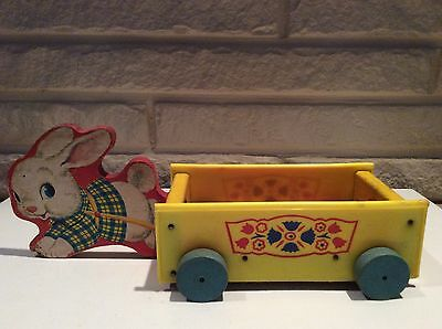 Vintage Fisher Price Bunny Rabbit Wood Plastic Pull Toy Wagon w/ Working Bell