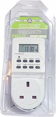 Pifco Plug In 24 Hour 7 Day Digital Programmable Timer 13Amp Switch Socket