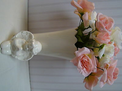 Vase Tall Large White Pottery Angel Cherub Flowers Bouquet