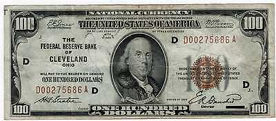 1929 $100 National Currency Note From Cleveland Fine
