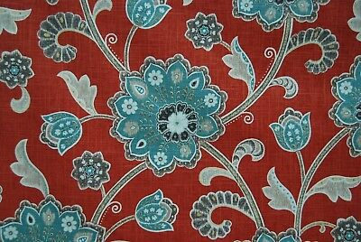 Braemore Ankara Scarlet Linen fabric By The Yard