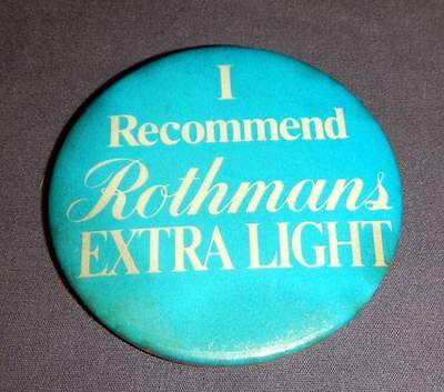"""i Recommend"" Rothmans Extra Light Vintage 2.5"" Button Pin Pinback"