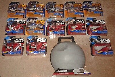 Star Wars Hot Wheels lot of 13 vehicles and Death Star play case NEW