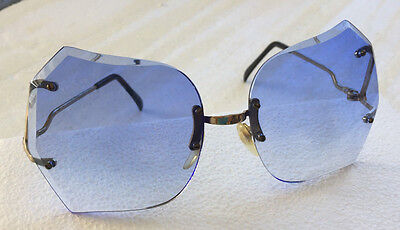 Vintage 1980's  New Old Stock Oversize Glasses with Faceted Blue Gradient Lenses