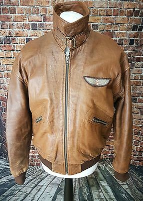 Vintage Mens Dakota Special Flight Unit Brown Leather Bomber Jacket Large