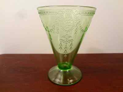 Green depression glass, Rose Cameo pattern, Belmont Tumbler Co 1930's, vintage