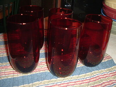 """5 Anchor Hocking Royal Ruby Water Glasses Tumblers 5"""" Rounded Base"""