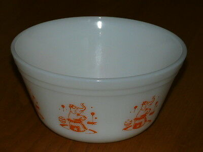 Vintage Federal White Glass Bowls - Oven ware - Circus - Elephant - 6'' diameter