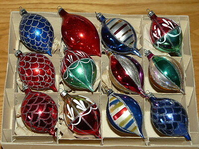 Lot of 12 Very Nice Vintage Poland Teardrop Mercury Glass Christmas Ornaments