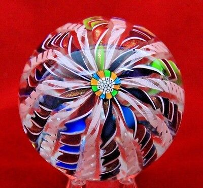 Gorgeous JOHN DEACONS Six COLOR Twisted RIBBON Crown ART Glass PAPERWEIGHT