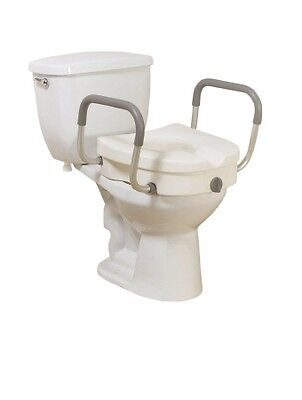 Elevated Raised Toilet Seat Riser with Arms #12008KDR-5'' WHITE 300 lbs *NEW*