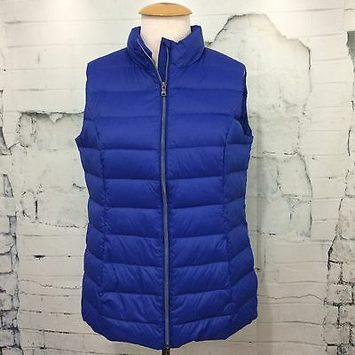 LORD & TAYLOR Lightweight Quilted 90% Down Vest Blue Jacket Women's Size Large
