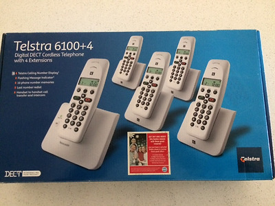Telstra 6100 +4 Digital Dect Cordless Telephone with 4 Extensions