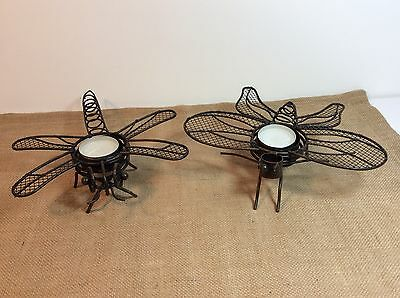 Dragonfly & Butterfly Metal Tea Light Candle Holders