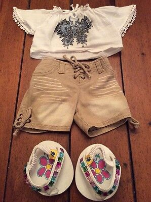 BUILD A BEAR Outfit:  Tan Denim Shorts, Butterfly Shirt & Jeweled Sandals