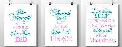 3 baby girl nursery quotes prints she believed let her sleep little but fierce