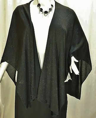 Steve Madden Black Shimmery Versatile Formal Knit Cape -Washable Osfa