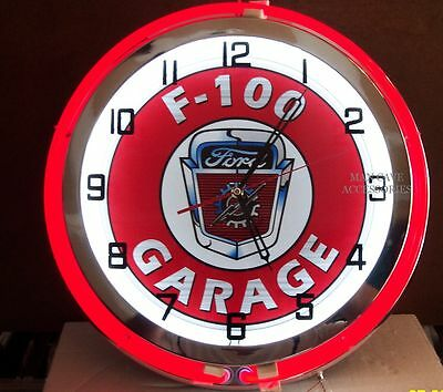 "18"" FORD F-100 Garage Sign Double Neon Clock"