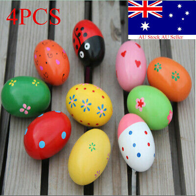 4Pcs Wooden Egg Maracas Music Shaker Instrument Rhythm Kids Baby Toy Gift New
