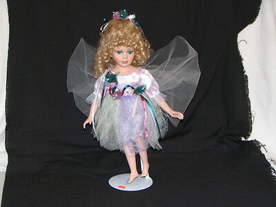 """Doll 17"""" Blonde Fairy movable Porcelain head arms and legs Cloth body"""