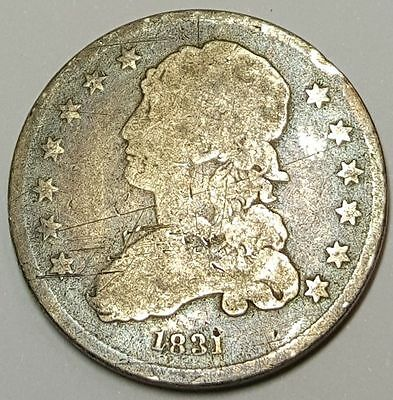 1831 25C US Capped Bust Quarter Antique U.S. 25 Cent Silver Currency