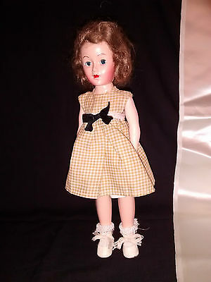"""Doll 11"""" Hard Plastic Strung with sleep eyes Brown Mohair Brown white gingham dr"""