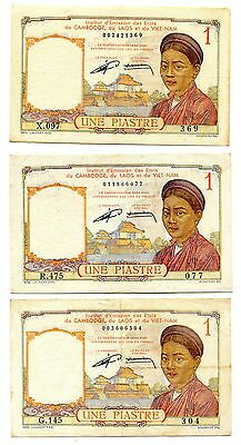 French Indo-China 1 Piastre Pick 92 ND 1953 ,   lot of 3 note   , No pinholes