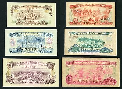 1966 Vietnam banknote 10 20 50 xu and 1 2 10 dong Set of 6 note