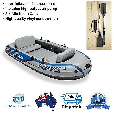 Intex Excursion 68324 Inflatable 4 Person Tender Dinghy Raft Oars Air Pump NEW