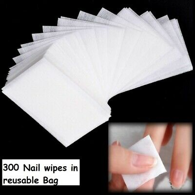 300 Lint Free Nail Wipes Pads Art Gel Acrylic Polish Remover Pedicure Manicure