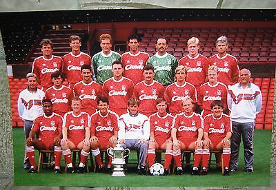 A4 PHOTOGRAPH 1989 - 1990 LIVERPOOL TEAM GROUP GLOSSY PHOTO 30 x 20 cm