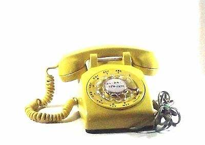 VTG Western Electric Bell System Yellow Rotary Desk 500 Telephone Tested & Works