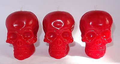 3 x Skull Candles, Handmade, Strawberry Scented. Gothic / Pagan / Halloween
