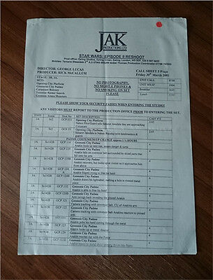 RARE Call Sheet STAR WARS ATTACK OF THE CLONES Production Paperwork Notes -UK
