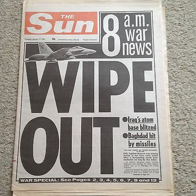 The Sun newspaper 17th January 1991 Gulf War page 3 Kirsten Imrie COMPLETE